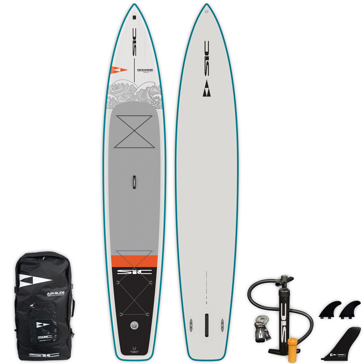 "INFLATABLE SIC SUP - OKEANOS AIR-GLIDE (FST) 14'0"" x 30""  - Deck - 105230"